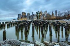 Opinión de la madrugada del Lower Manhattan imagenes de archivo