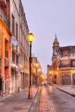 Opinión de la madrugada de las calles de San Luis Potosi, México imágenes de archivo libres de regalías