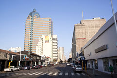 Opinión de la madrugada Smith Street, Durban Suráfrica Fotos de archivo