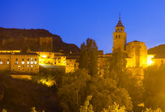 Opinión de la noche de Albarracin Foto de archivo libre de regalías