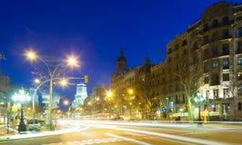 Opinión de la noche de Barcelona Imagen de archivo libre de regalías