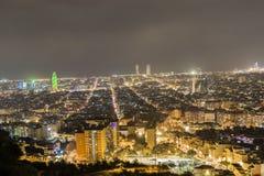 Opinión de la noche de Barcelona Foto de archivo libre de regalías