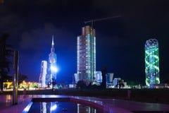 Opinión de la noche de Batumi fotografía de archivo
