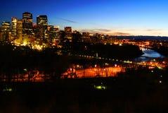 Opinión de la noche de Calgary fotos de archivo libres de regalías