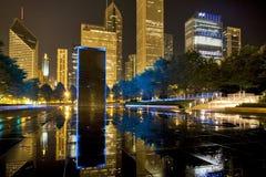 Opinión de la noche de Chicago Imagenes de archivo