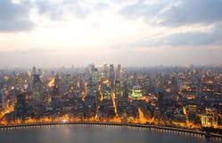 Opinión de la noche de China Shangai Foto de archivo libre de regalías