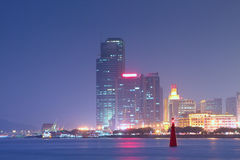 Opinión de la noche de China Xiamen Fotografía de archivo