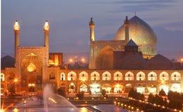 Opinión de la noche de Esfahan, Irán Foto de archivo libre de regalías