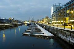 Opinión de la noche de Gdansk. Fotografía de archivo libre de regalías