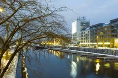 Opinión de la noche de Gdansk. Imagen de archivo libre de regalías