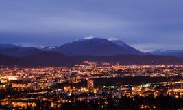 Opinión de la noche de Grenoble Fotos de archivo libres de regalías