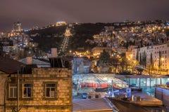 Opinión de la noche de Haifa Foto de archivo libre de regalías