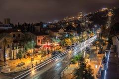 Opinión de la noche de Haifa Imágenes de archivo libres de regalías