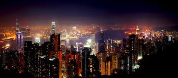Opinión de la noche de Hong-Kong Fotografía de archivo