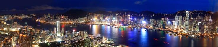 Opinión de la noche de Hong Kong foto de archivo