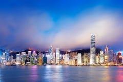 Opinión de la noche de Hong Kong Fotografía de archivo