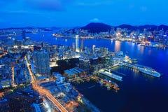 Opinión de la noche de Hong Kong fotos de archivo libres de regalías