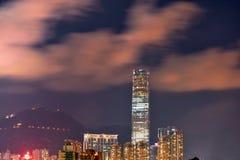 Opinión de la noche de Hong-Kong Imagen de archivo libre de regalías
