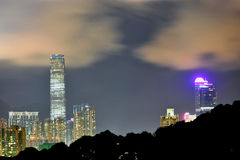 Opinión de la noche de Hong-Kong Fotografía de archivo libre de regalías