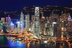 Opinión de la noche de Hong-Kong imagen de archivo