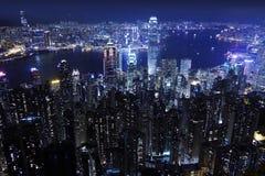 Opinión de la noche de Hong-Kong Fotos de archivo