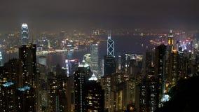 Opinión de la noche de Hong-Kong del pico Fotos de archivo