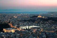 Opinión de la noche de la acrópolis. Foto de archivo libre de regalías