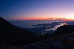 Opinión de la noche de la bahía de Kotor Foto de archivo libre de regalías