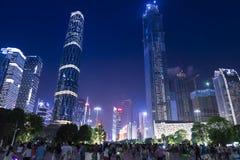 Opinión de la noche de la ciudad de Guangzhou Fotos de archivo libres de regalías