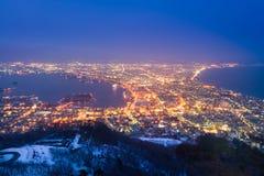 Opinión de la noche de la ciudad de Hakodate Imagenes de archivo