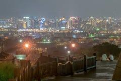 Opinión de la noche de la ciudad de Taichung imagen de archivo