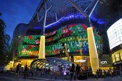 Opinión de la noche de la decoración de la Navidad en el camino de la huerta de Singapur Foto de archivo libre de regalías