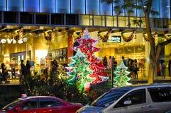Opinión de la noche de la decoración de la Navidad en el camino de la huerta de Singapur Imagenes de archivo