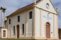 Opinión de la noche de la iglesia de Cristo Rei - Bento Goncalves - RS Foto de archivo libre de regalías