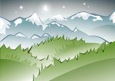 Opinión de la noche de la montaña Fotografía de archivo libre de regalías