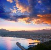 Opinión de la noche de la playa de la puesta del sol de Alicante Javea Foto de archivo libre de regalías