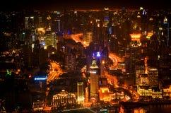 Opinión de la noche de la Shangai Imagen de archivo libre de regalías