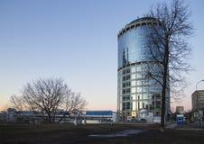 Opinión de la noche de la torre 2000, ciudad internacional del centro de negocio de Moscú Rusia Imagen de archivo