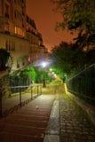 Opinión de la noche de las escaleras de Montmartre fotografía de archivo