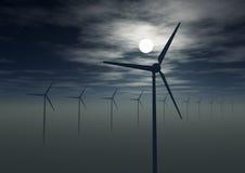 Opinión de la noche de las láminas de turbina de viento Imagen de archivo