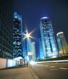 Opinión de la noche de los paisajes urbanos de Shangai Imagen de archivo