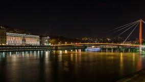 Opinión de la noche de Lyon, Francia Fotos de archivo
