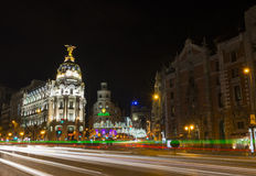 Opinión de la noche de Madrid en la Navidad Imagen de archivo libre de regalías