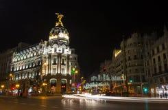 Opinión de la noche de Madrid en la Navidad Imágenes de archivo libres de regalías