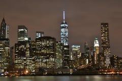 Opinión de la noche de New York City Fotografía de archivo