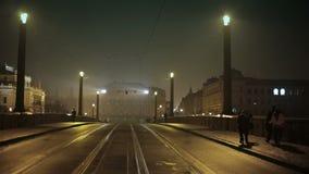 Opinión de la noche de Praga almacen de video