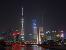 Opinión de la noche de Shangai Foto de archivo libre de regalías