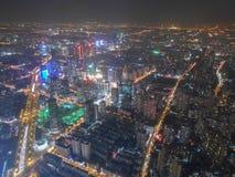 Opinión de la noche de Shangai Imagen de archivo libre de regalías