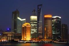 Opinión de la noche de Shangai Imagenes de archivo
