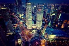 Opinión de la noche de Shangai, China Fotografía de archivo